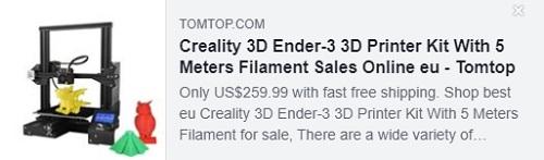 Kit d'imprimante 3D Creality 3D Ender-3 avec filament de 5 mètres Prix: 154,99 $ Livré de l'entrepôt de l'UE, livraison gratuite