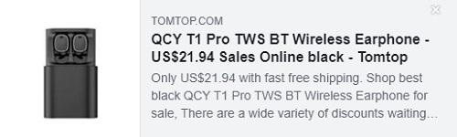 Écouteurs sans fil QCY T1 Pro TWS BT Prix: 21,94 $