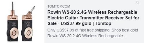 Rowin WS-20 2.4G Ensemble récepteur émetteur de guitare électrique rechargeable sans fil Prix: $ 23.99